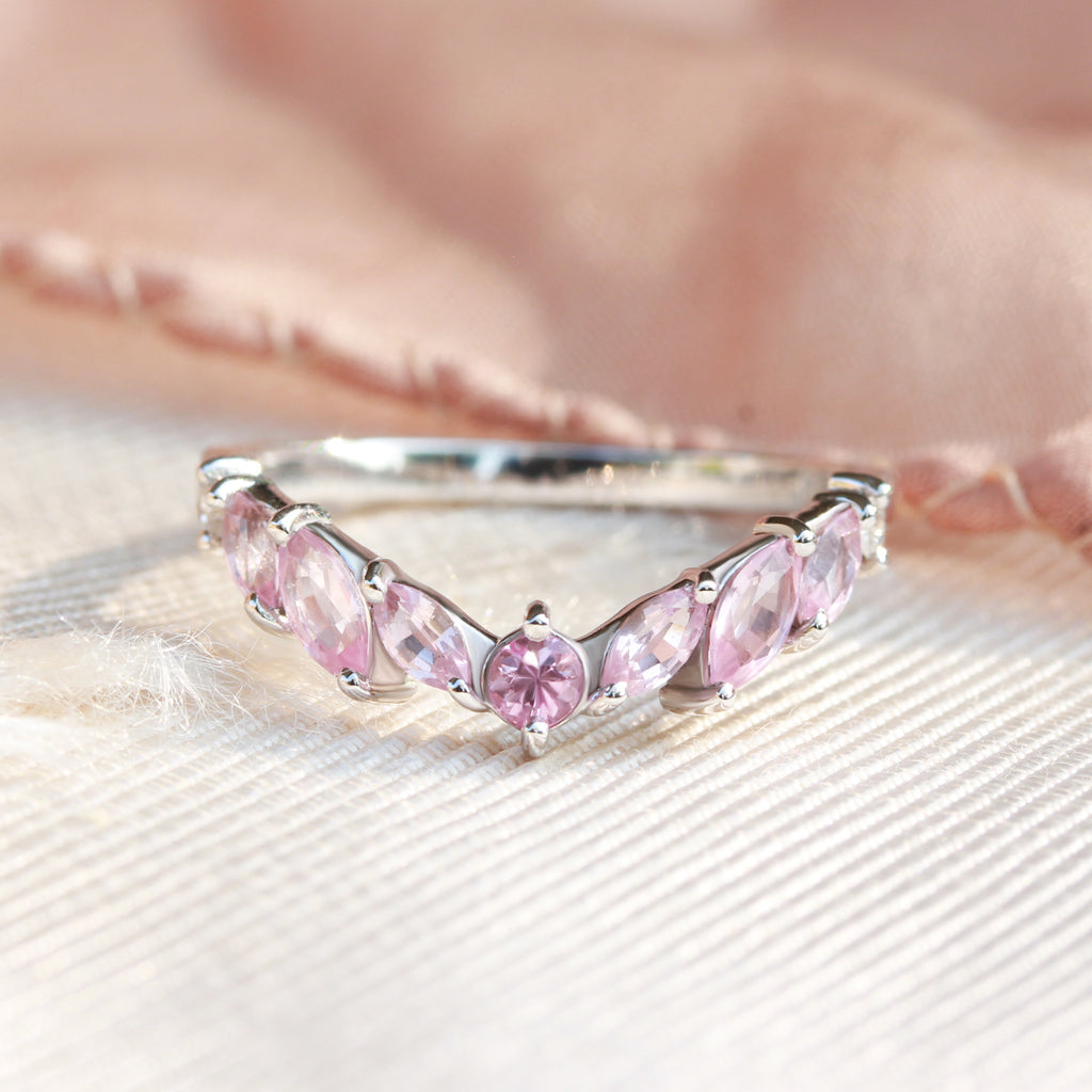 Marquise pink Spinel & Sapphire Crown nesting v ring, Pinkie