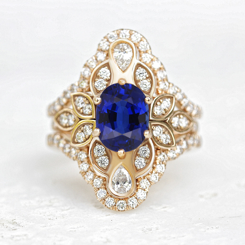 Blue Sapphire & Diamond Flower Unique Engagement Ring Set with Ring Guard Iced Lily #4 - sillyshinydiamonds
