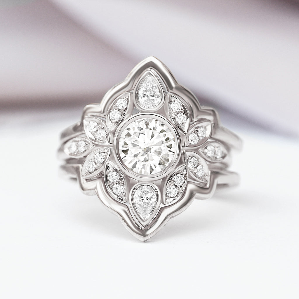 Lily #5 Moissanite & Diamonds Vintage Unique Flower Engagement Ring Set - sillyshinydiamonds