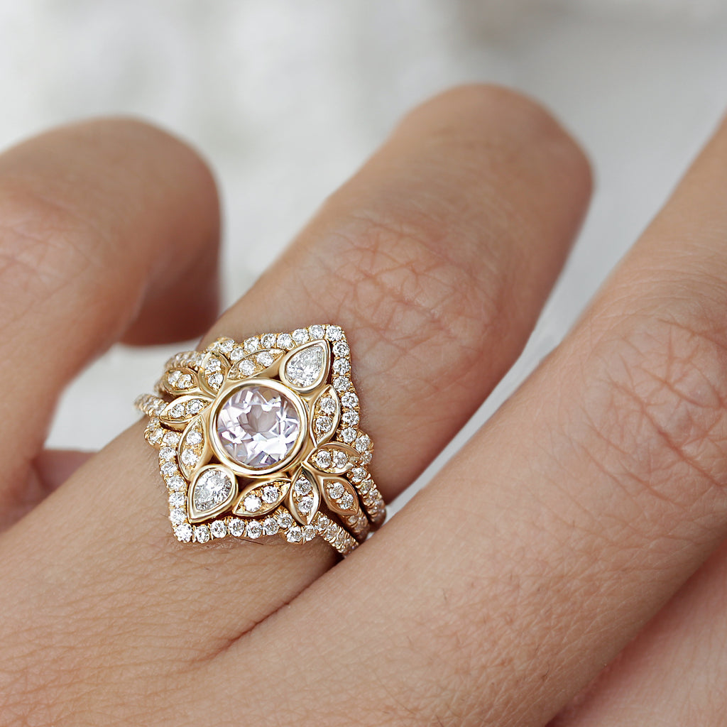 Lily #5 Iced Frame Morganite & Diamonds Flower Engagement Ring Set - Size 6.5, Ready to ship - sillyshinydiamonds
