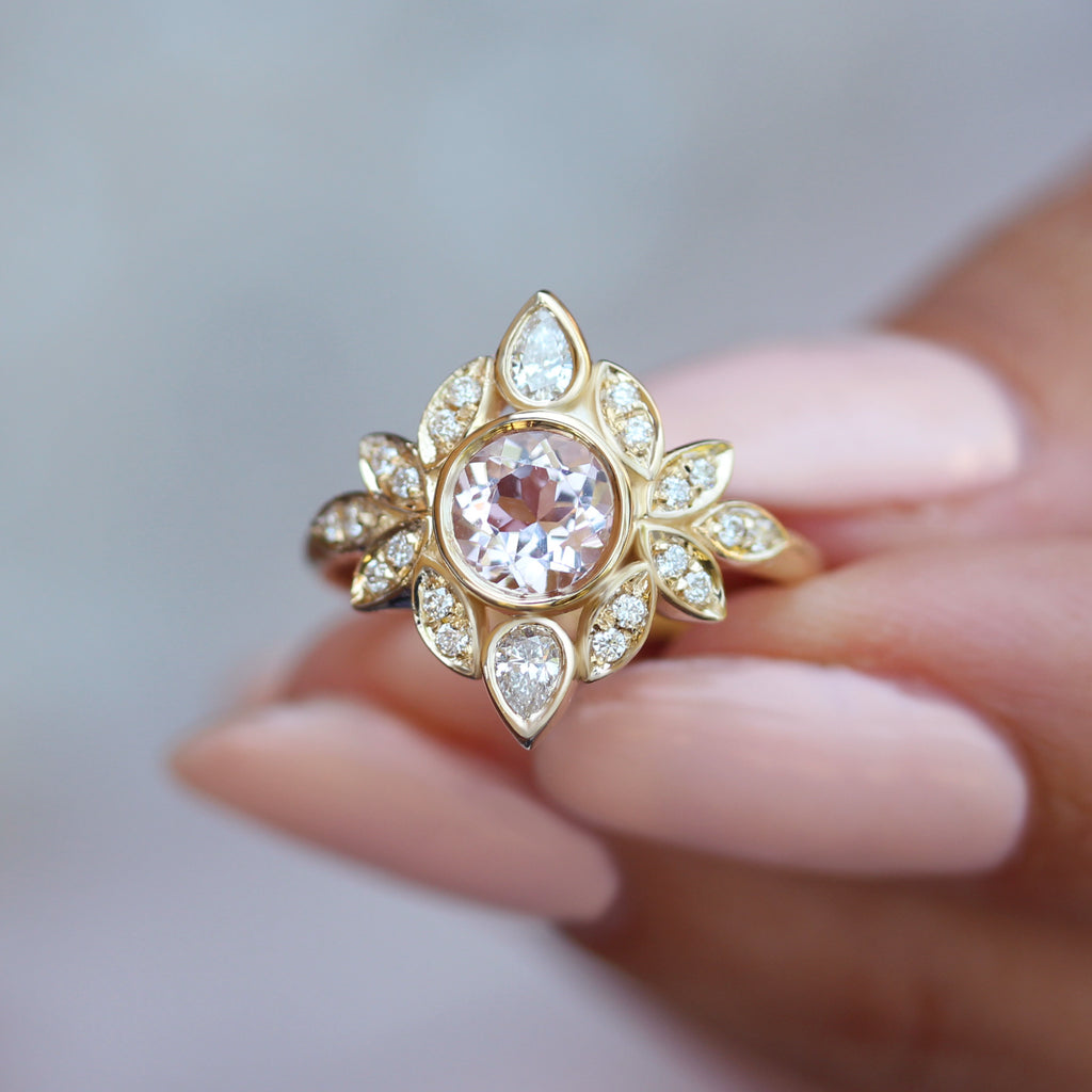 flower morganite and yellow gold unique engagement ring by silly shiny diamonds