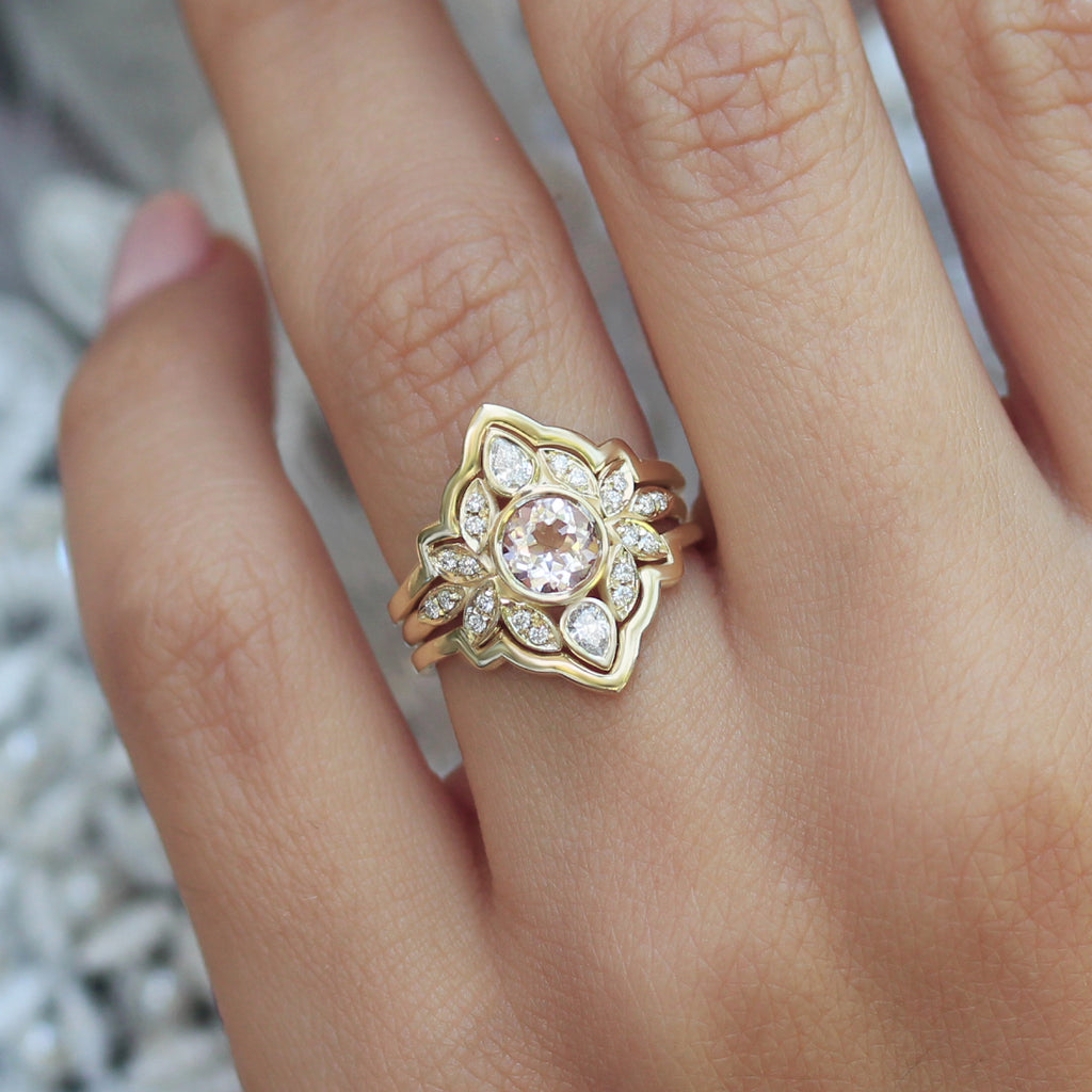 flower morganite and yellow gold unique engagement ring with ring guard by silly shiny diamonds