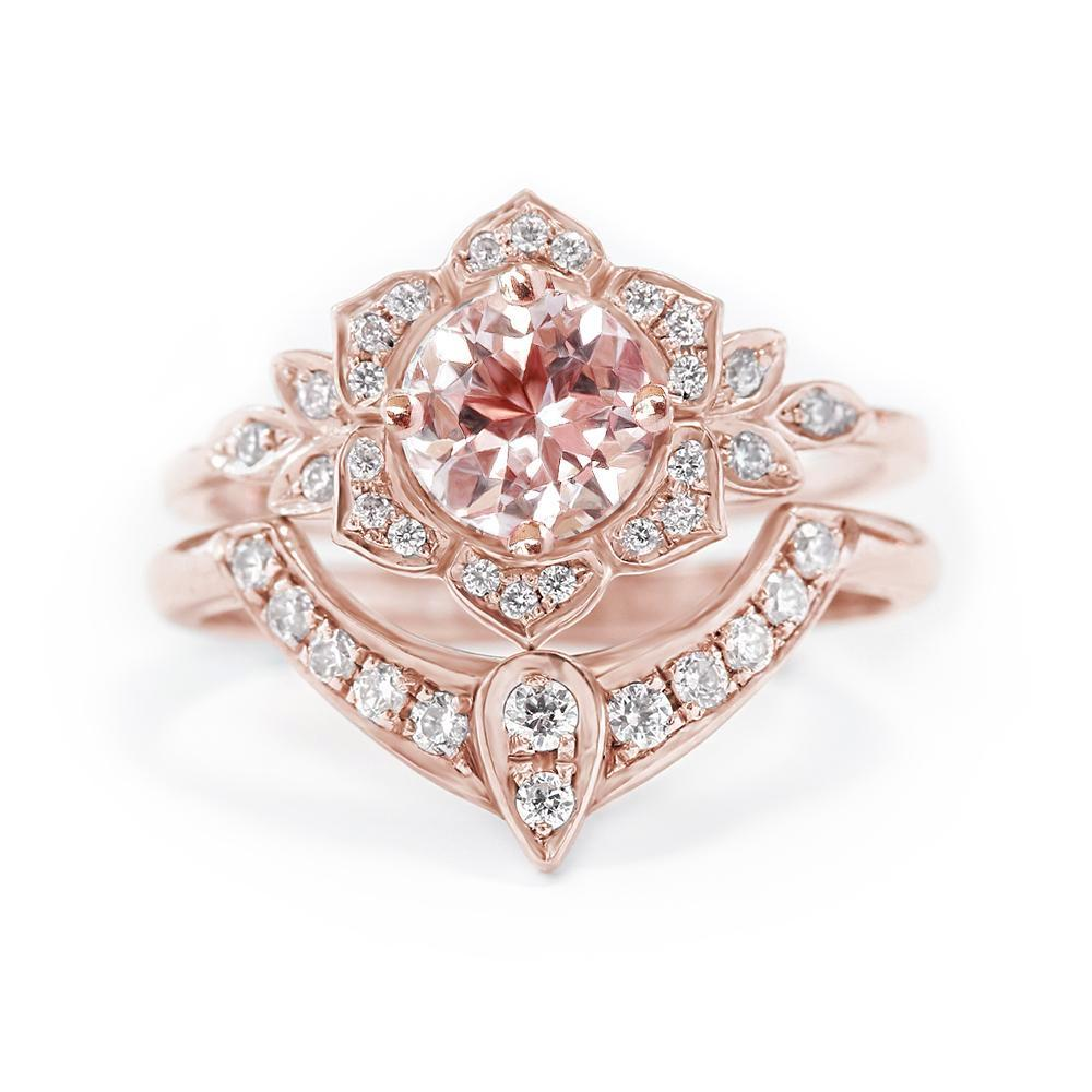 Lily Flower Diamond Unique Engagement Ring Set, 18K Rose Gold, Size 6