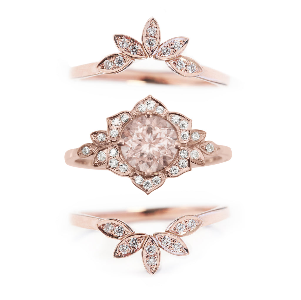 Lily Flower Morganite & Diamond Bridal Three Rings Set