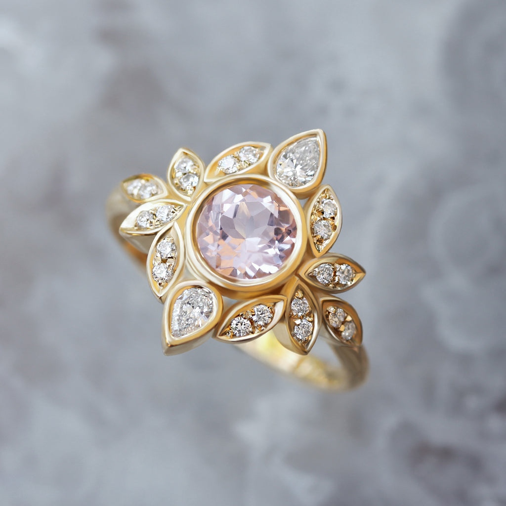 Lily #5 Morganite & Diamonds Flower Engagement Ring - sillyshinydiamonds