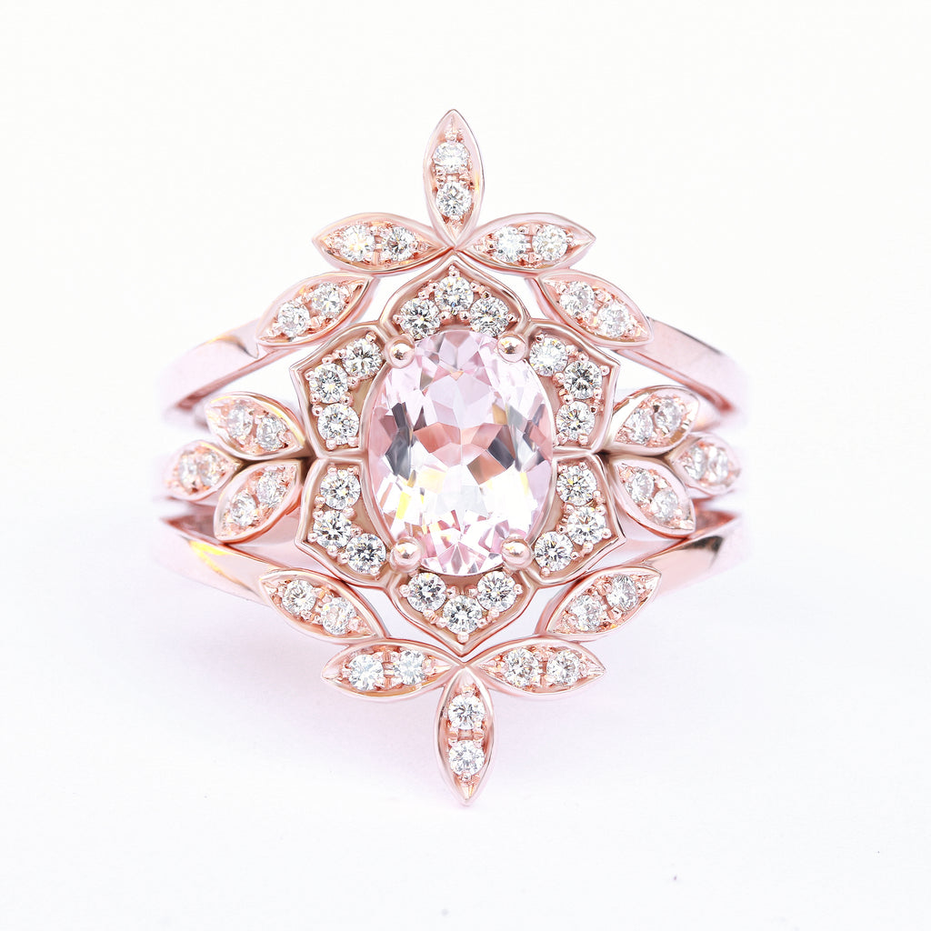 Lily Flower Oval Morganite & Diamond Bridal Three Rings Set - sillyshinydiamonds