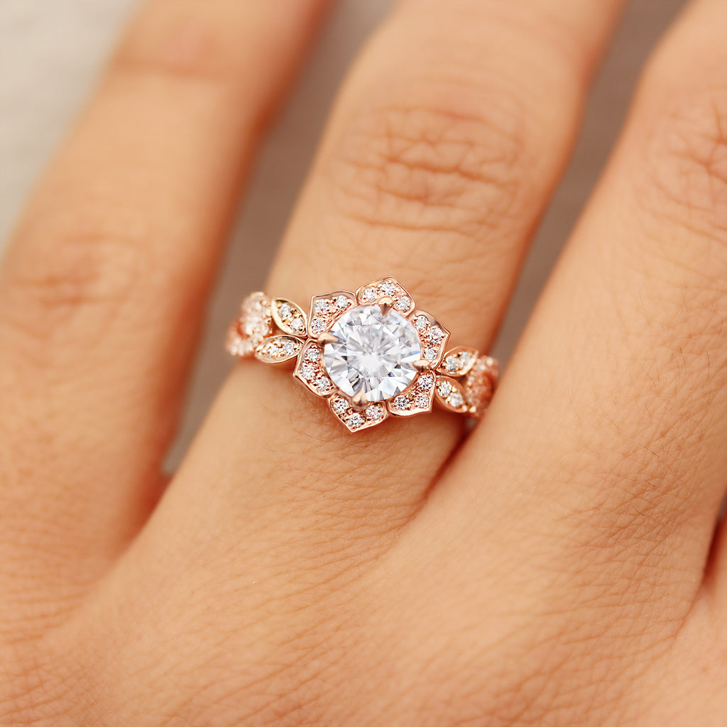 Lily Wave Flower - Moissanite & Diamonds Unique Engagement Ring - sillyshinydiamonds