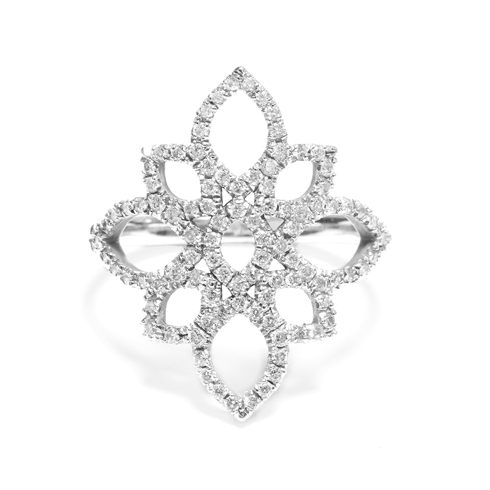 Lotus 0.5 carat Statement Lace Diamond Ring - sillyshinydiamonds