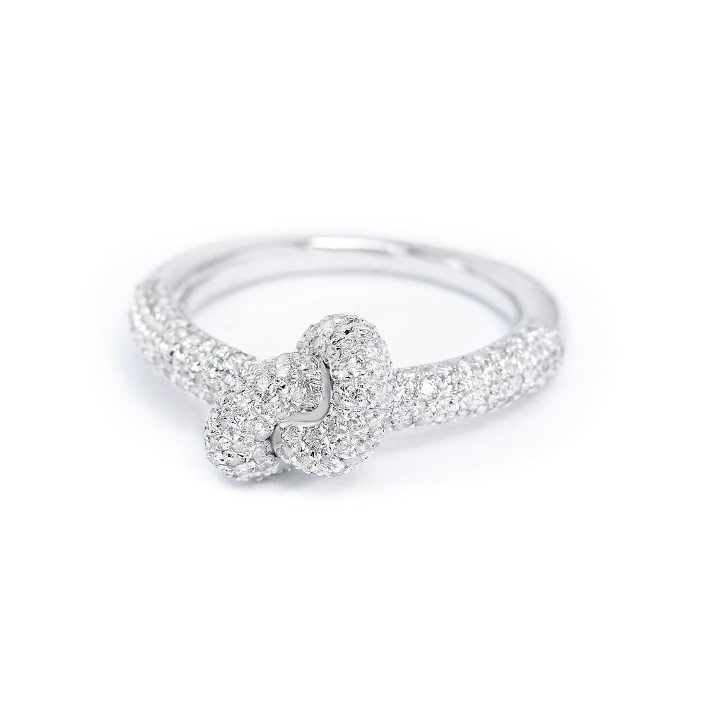 Knot diamond wedding ring, Big forget me knot