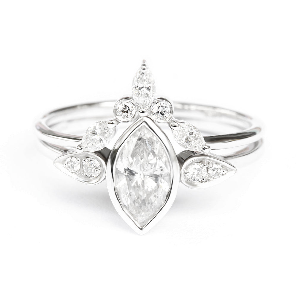 Kiss Plus, Marquise Diamond Unique Engagement Ring - sillyshinydiamonds