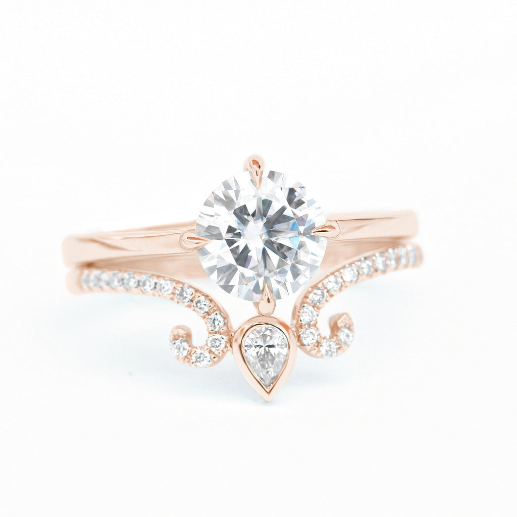 Moissanite & Pear Diamond Unique Engagement Ring Set, 14K Rose Gold, Forever One Moissanite Weeding Ring, East West Ariana