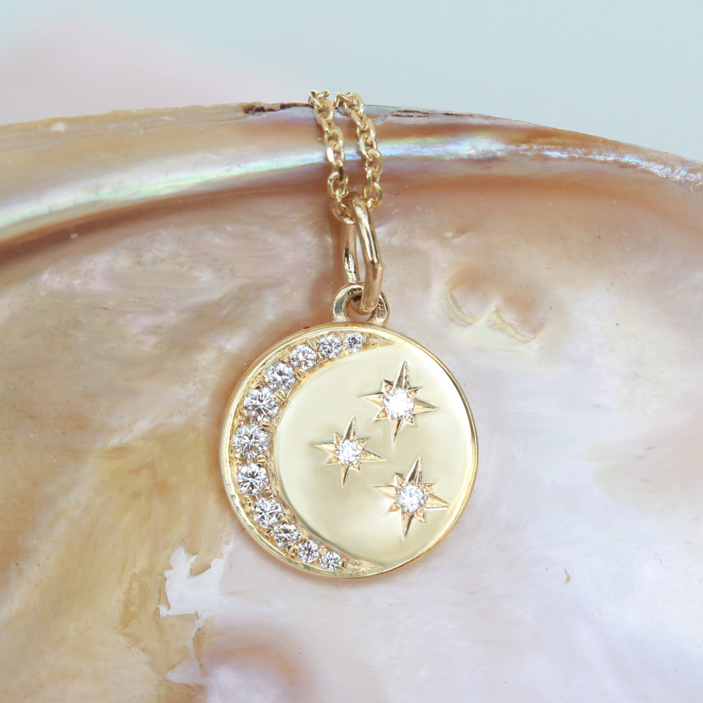Crescent Moon & Stars Diamond Coin Pendant Necklace