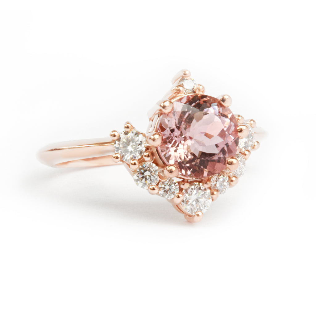 Luna, Morganite & Diamonds Unique Cluster Engagement Ring - sillyshinydiamonds