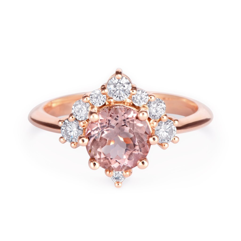 Luna, Morganite & Diamonds Unique Cluster Engagement Ring, 14K Rose Gold, Size 6.5, Ready to ship - sillyshinydiamonds