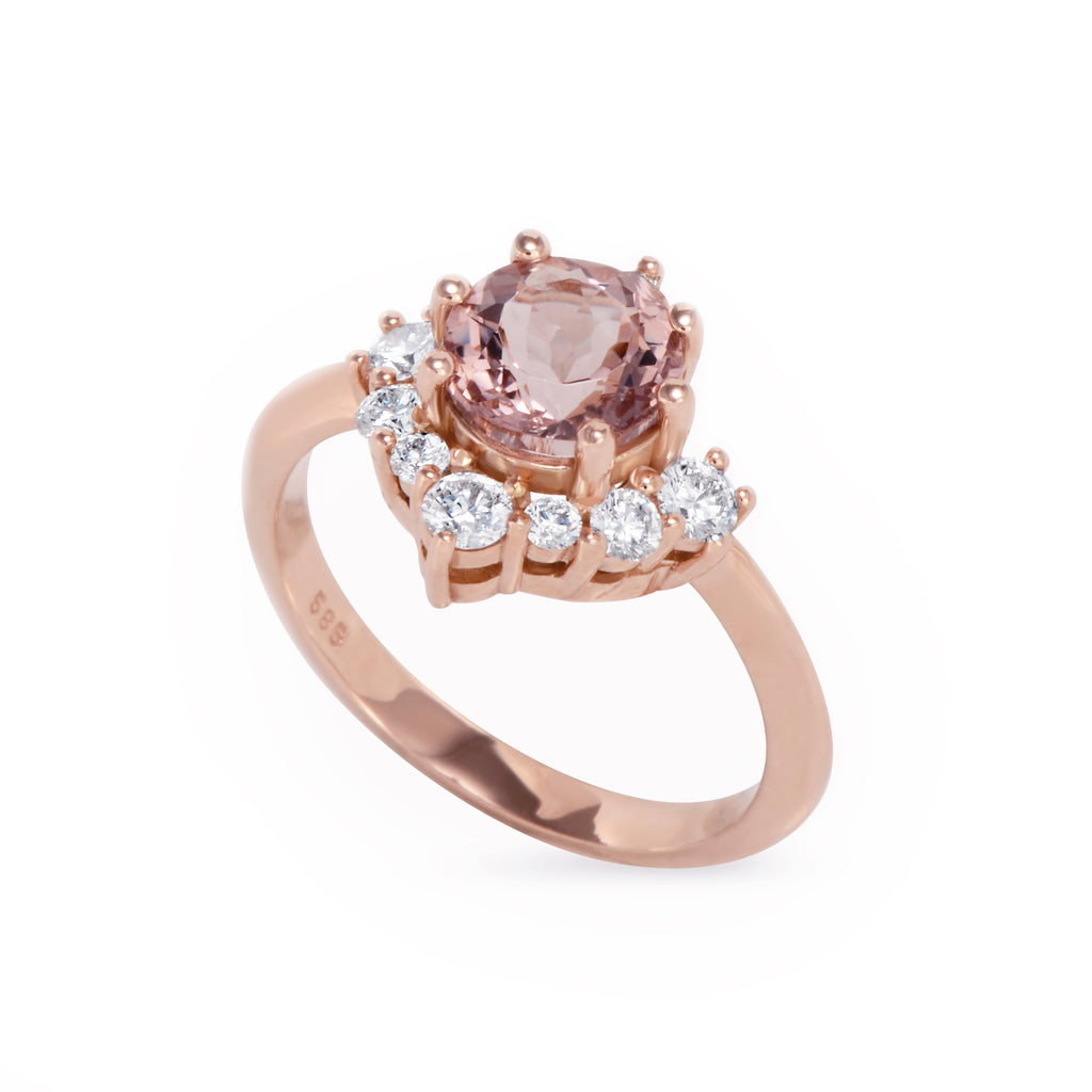 Luna, Morganite & Diamonds Unique Cluster Engagement Ring, 14K Rose Gold, Size 6.5, Ready to ship