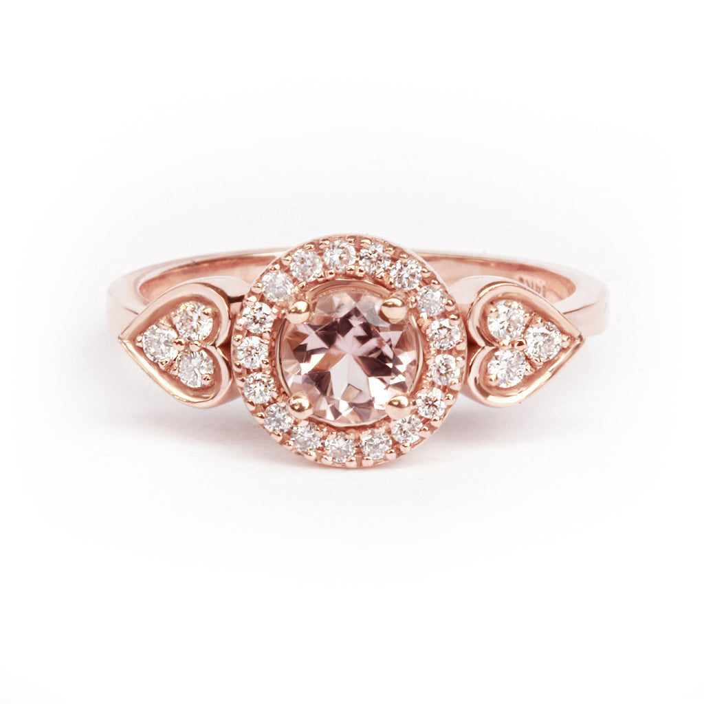 Morganite & Diamonds Halo & Hearts Shank - Sugar Rose - sillyshinydiamonds