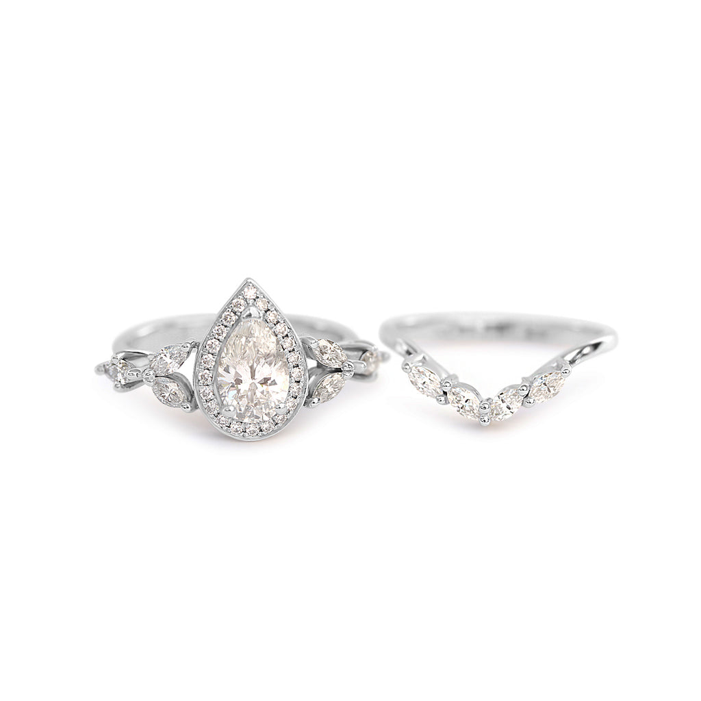 Muse Unique Pear Diamond Engagement Rings Set - 1.68 Carat - sillyshinydiamonds