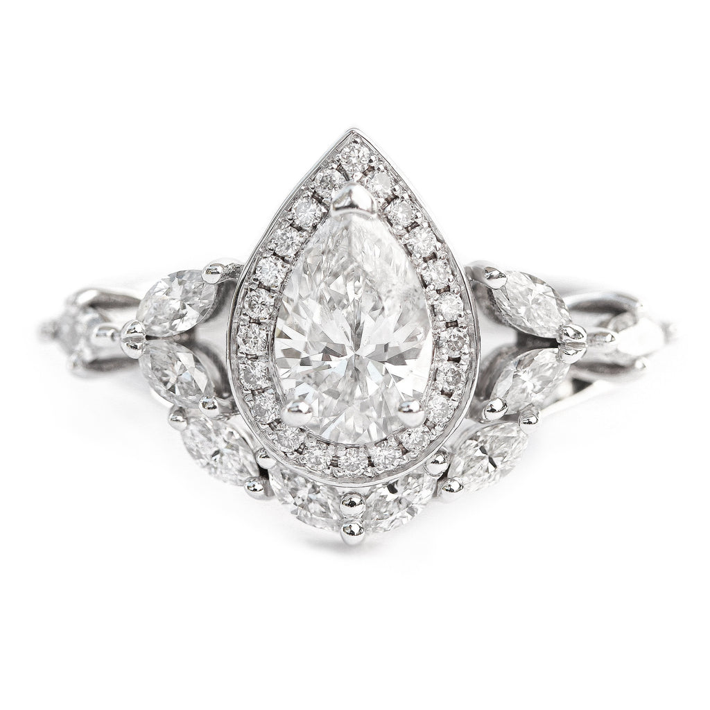 Muse Unique Pear Diamond Engagement Rings Set - 1.68 Carat
