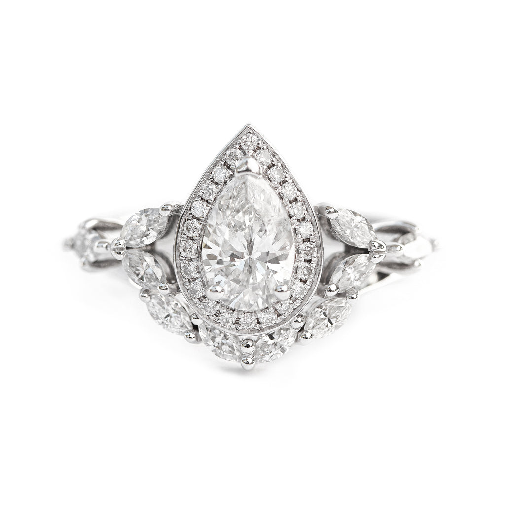 Muse Unique Pear Diamond Engagement Rings Set - 1.35 Carat - sillyshinydiamonds