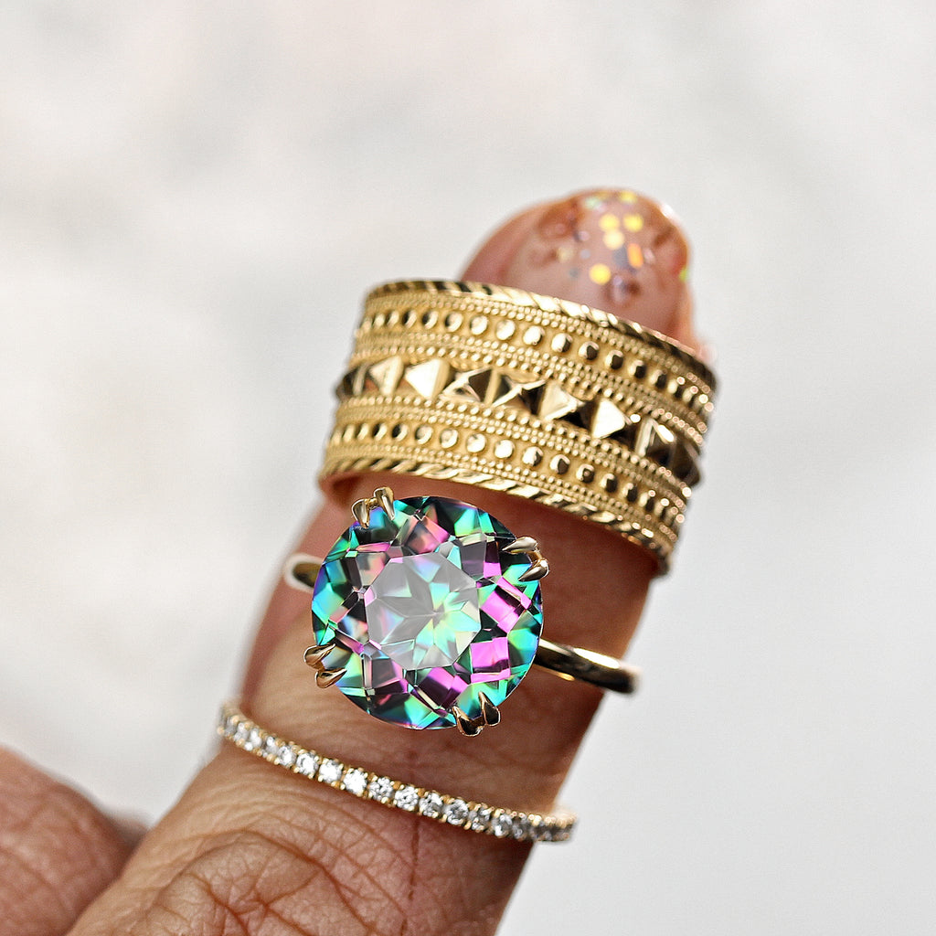Round Mystic Topaz, Cocktail Statement Colorful Gemstone Ring, 14K yellow gold Size 6.5 - READY to ship - sillyshinydiamonds