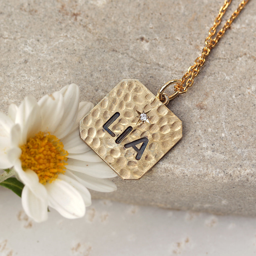 Personalized name square charm one diamond necklace - Ready to ship, LIA - sillyshinydiamonds