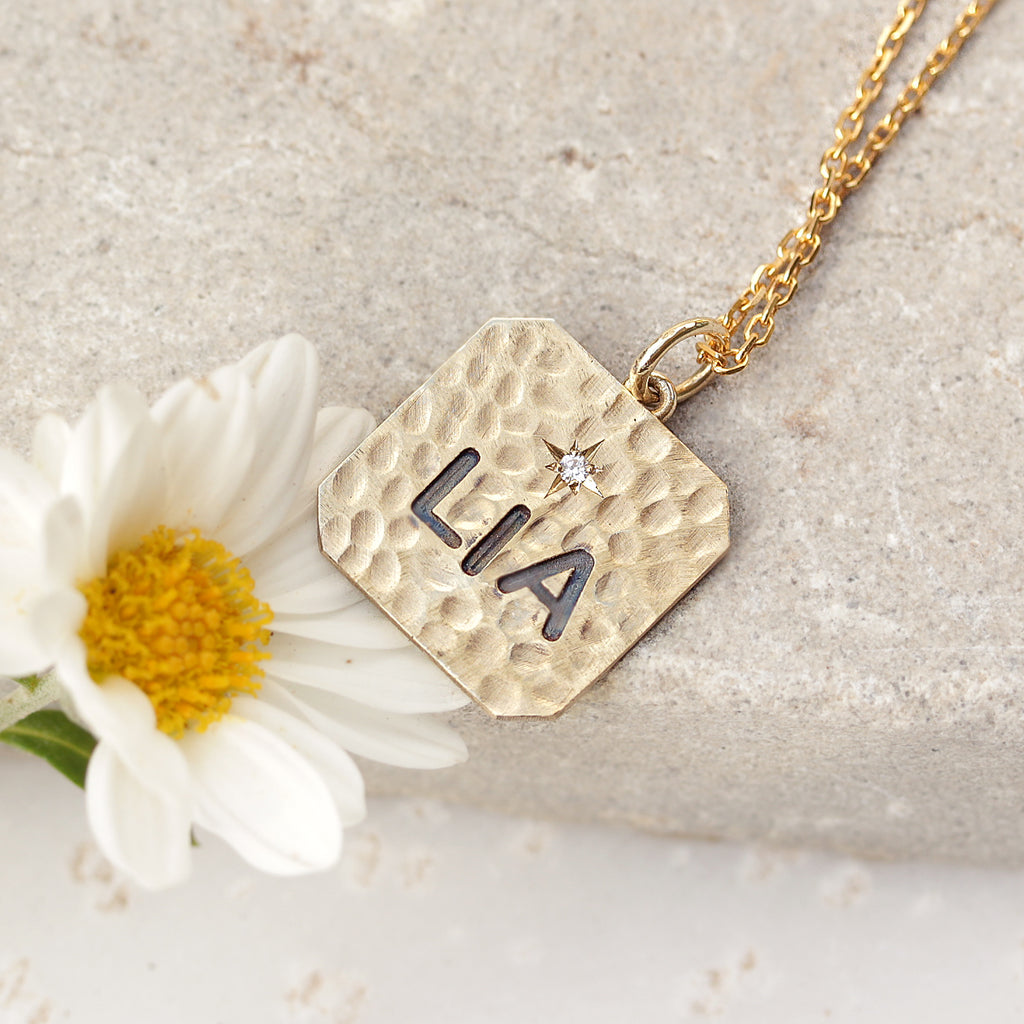 Personalized name square charm one diamond necklace - sillyshinydiamonds