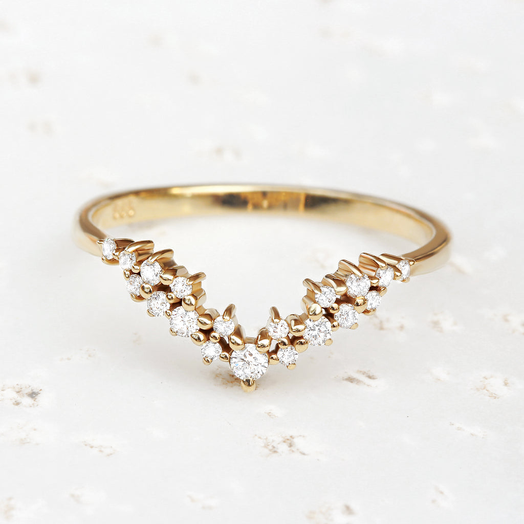 Diamond chevron nesting ring , side wedding band - sparkticles 2.0 - 14K yellow gold size 6.5, Ready to ship - sillyshinydiamonds