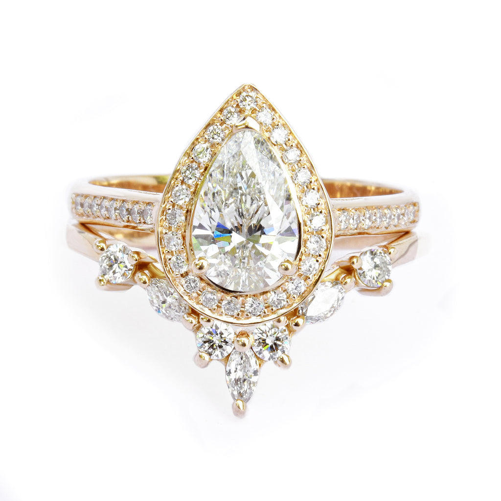 Pear Diamond 1.60 carat Unique Wedding Ring Set, NIA - sillyshinydiamonds