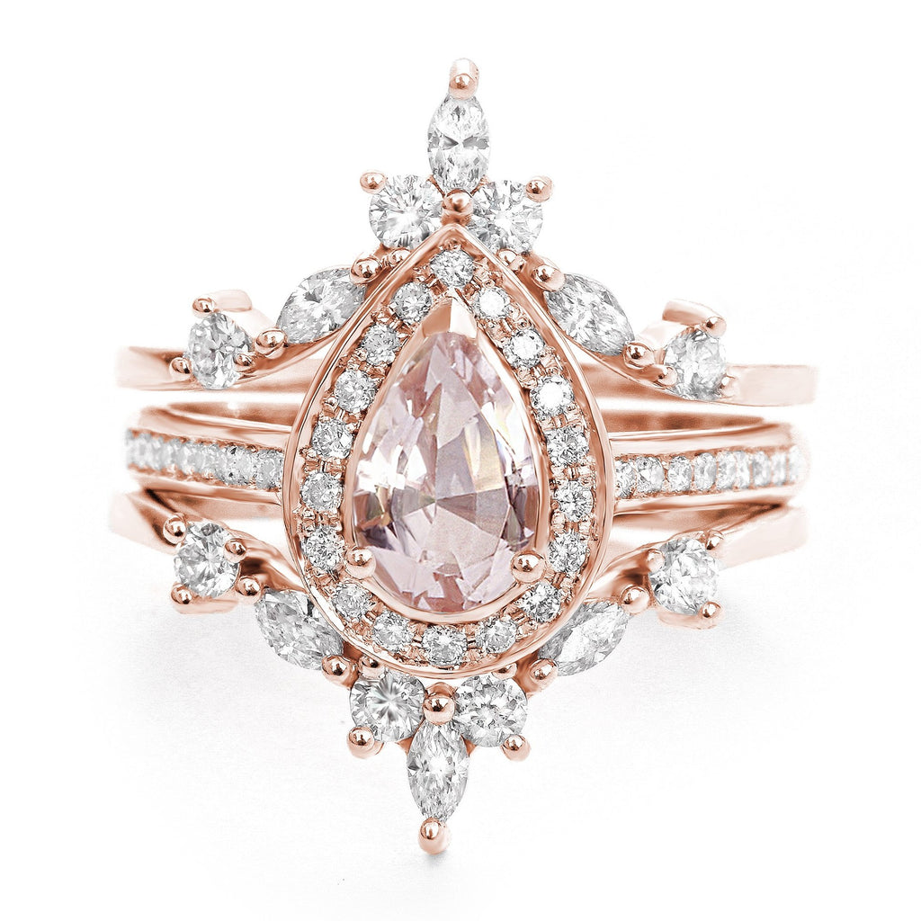 Pear Morganite & Diamond Halo Bridal Ring Set, Nia Trio + Two Hermes Bands - sillyshinydiamonds