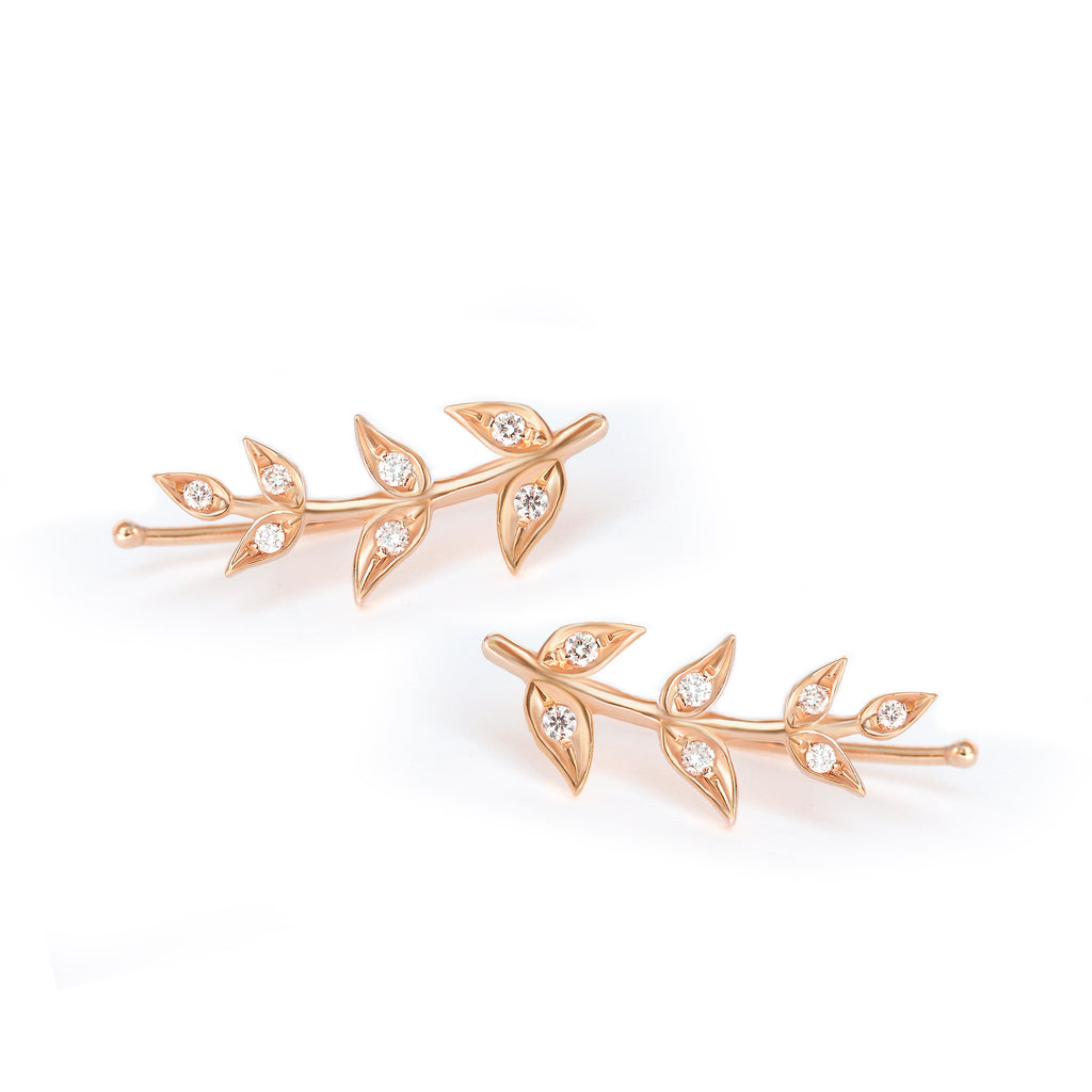 Olive Branch Leaves gold & Diamonds wedding earring - 14K Yellow gold ,Ready to ship - sillyshinydiamonds
