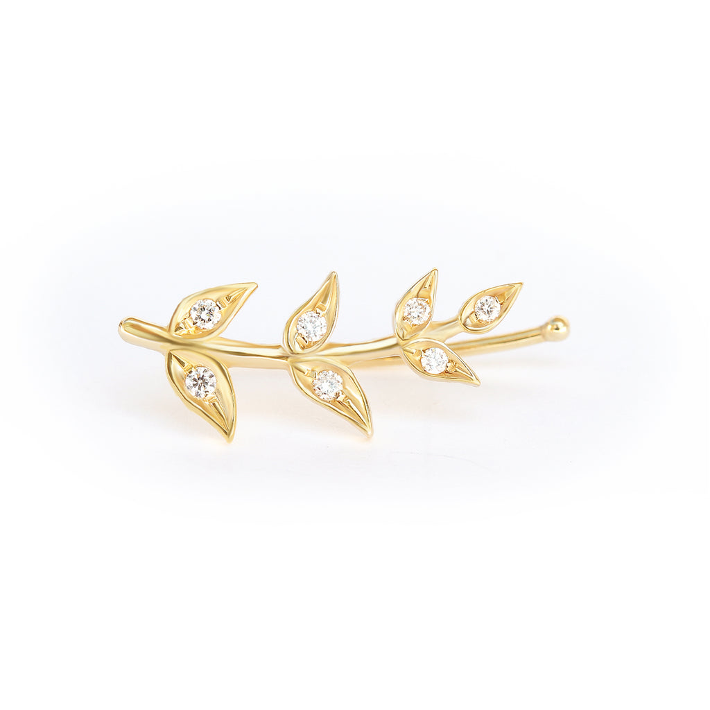 Olive Branch Leaves gold & Diamonds wedding earrings , greek Earrings - sillyshinydiamonds