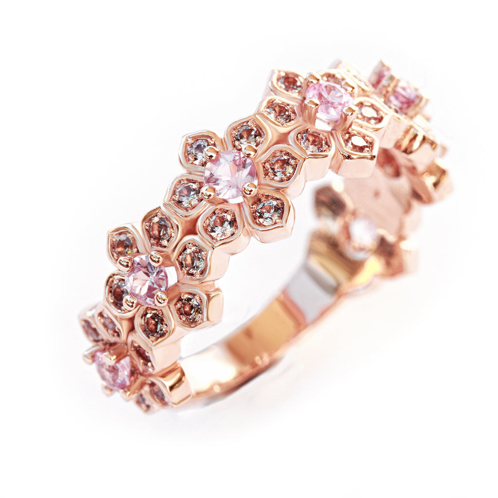 Lily Flower band One of a kind , 14K Rose Gold Wedding Band - Ready to ship , Size 6.5US - sillyshinydiamonds