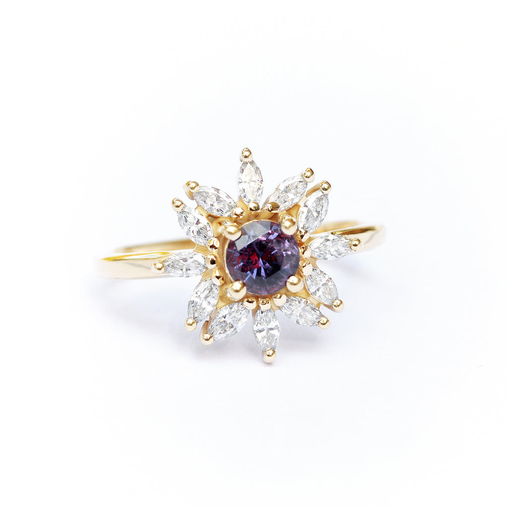 Round purple sapphire engagement ring, Odyssey - Ready to ship in 14K yellow gold, size 6.5