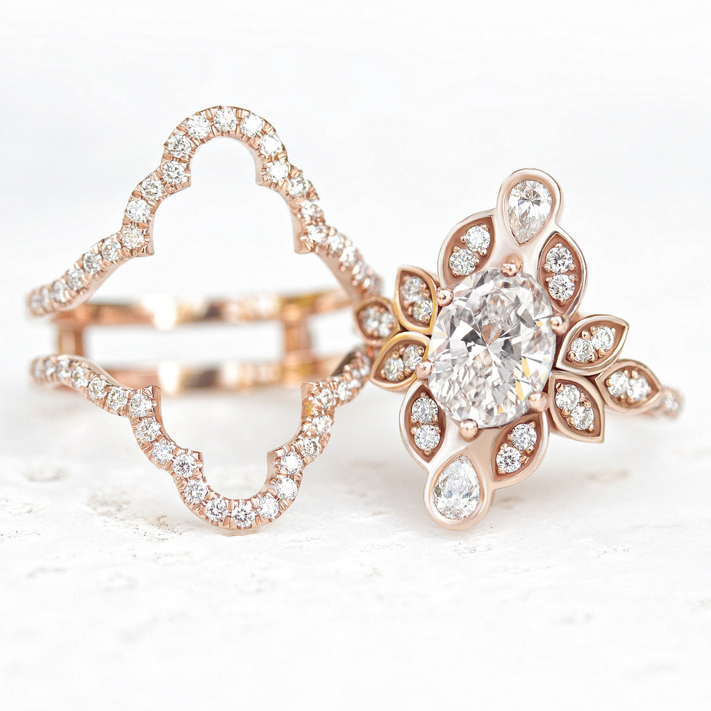 Lily #4 IcedFrame Oval Diamond Flower Engagement Ring Set - sillyshinydiamonds