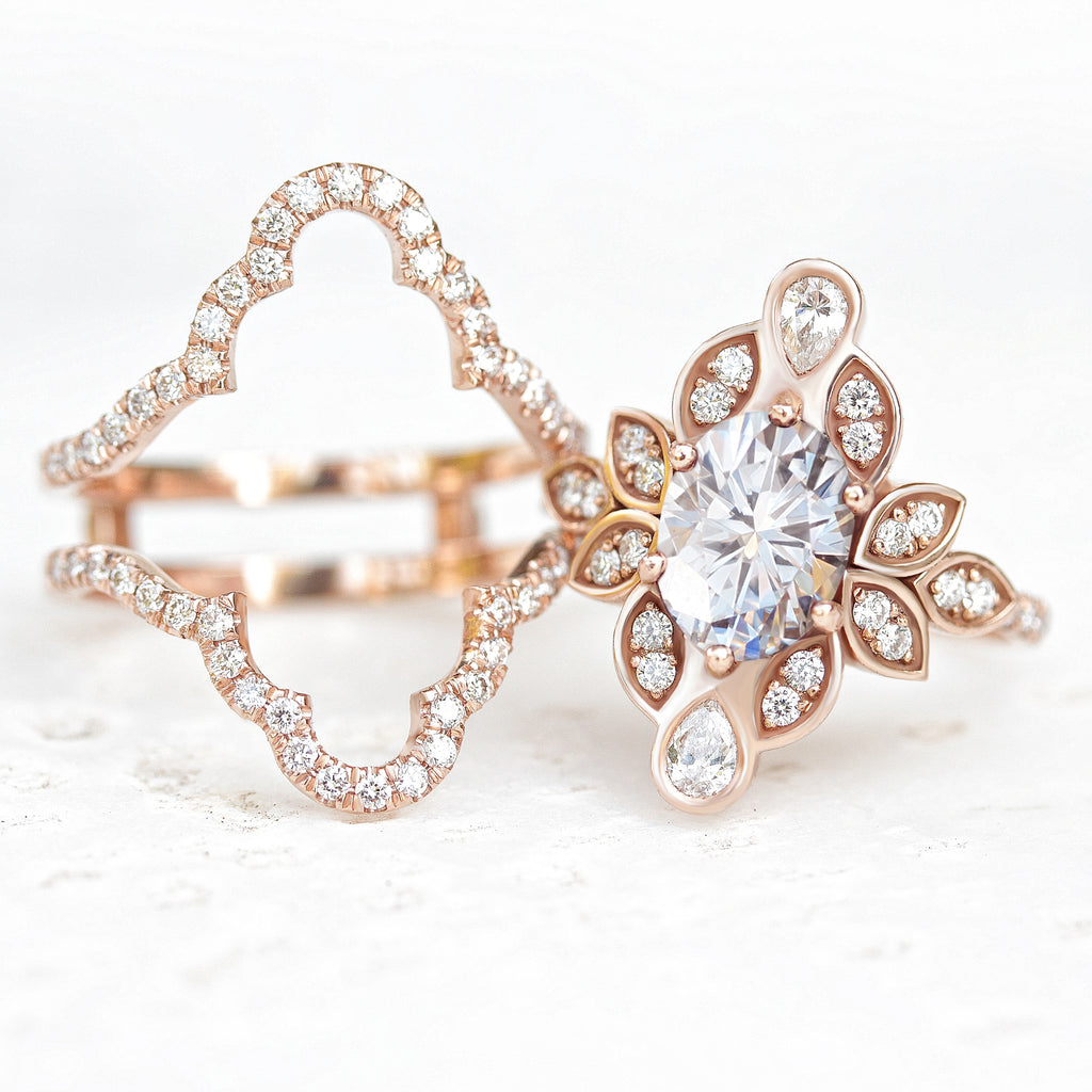 Lily #4 IcedFrame Oval Moissanite & Diamonds Flower Engagement Ring Set - sillyshinydiamonds