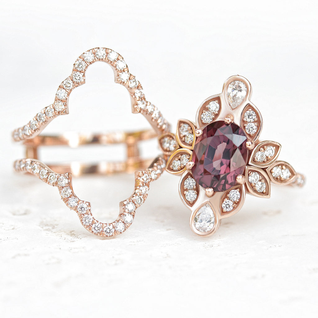 Spinel & Diamond Flower Unique Engagement Ring Set with Iced Ring Guard, 14K Rose Gold Size 5 - Ready to Ship - sillyshinydiamonds