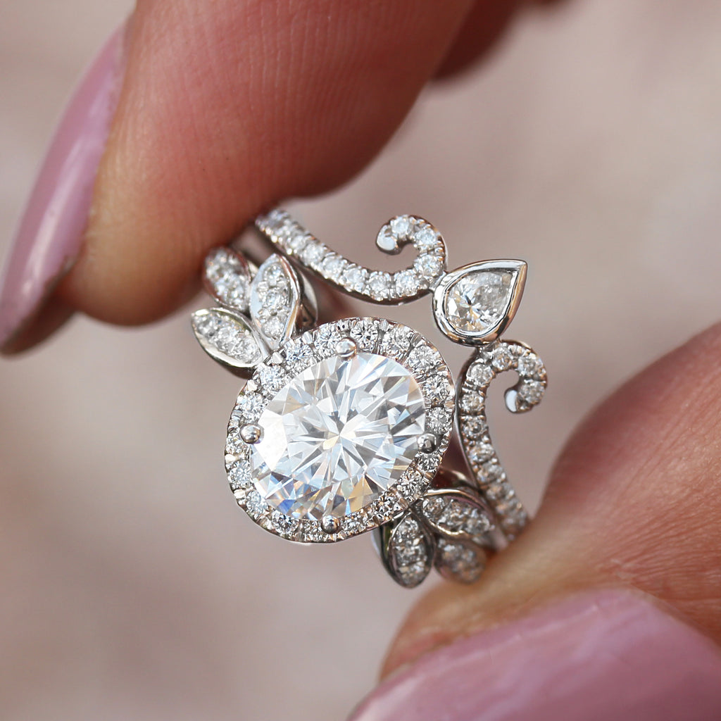 Minimal Lily - Oval Moissanite Diamonds Halo vine Floral Wedding jewelry - sillyshinydiamonds