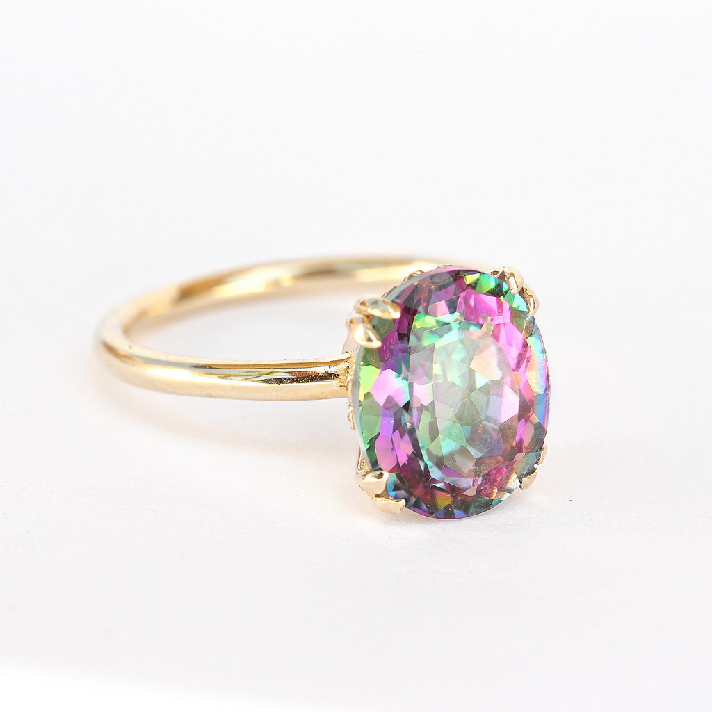 Oval Mystic Topaz Cocktail Statement Colorful Gemstone Ring Size 6.5 - READY to ship - sillyshinydiamonds