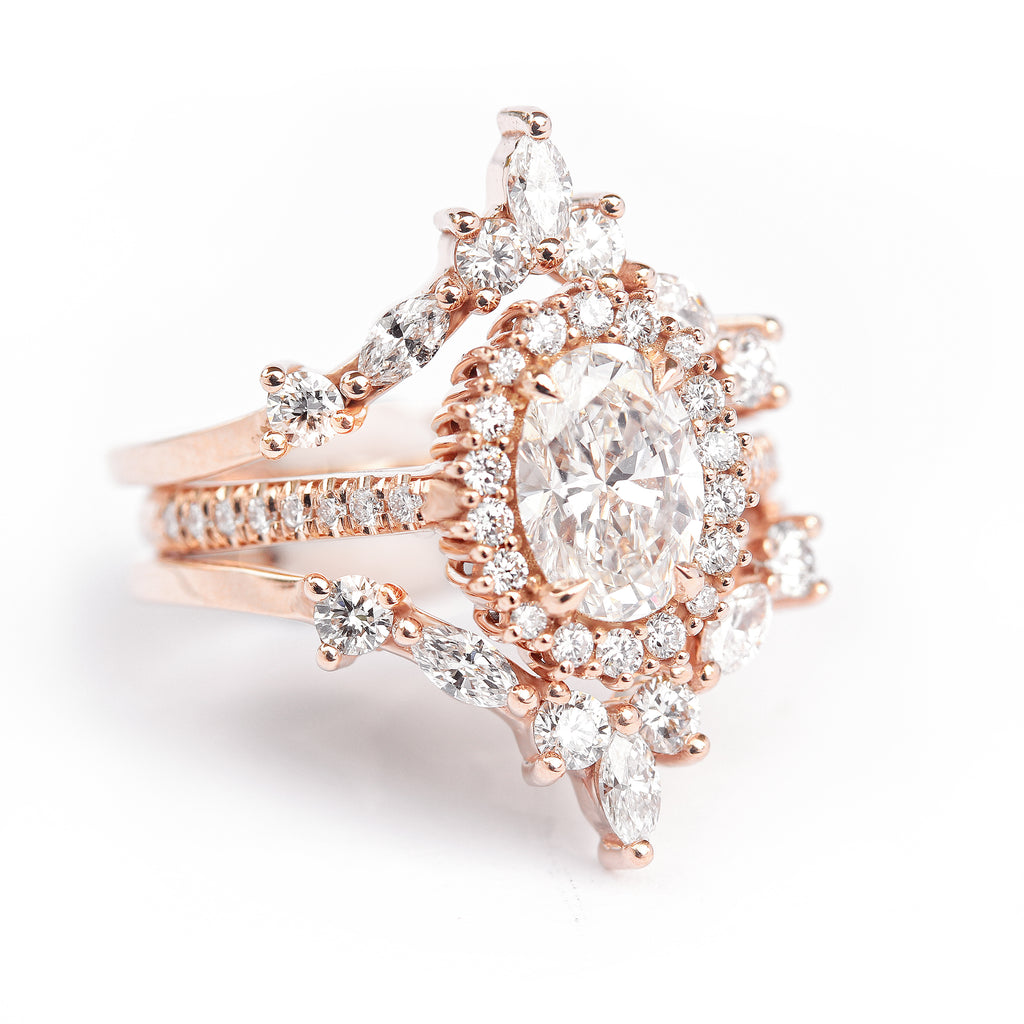Nia & Two Hermes- 1.70ct Oval Diamond Halo Unique Engagement & Wedding Three Rings - Set - sillyshinydiamonds