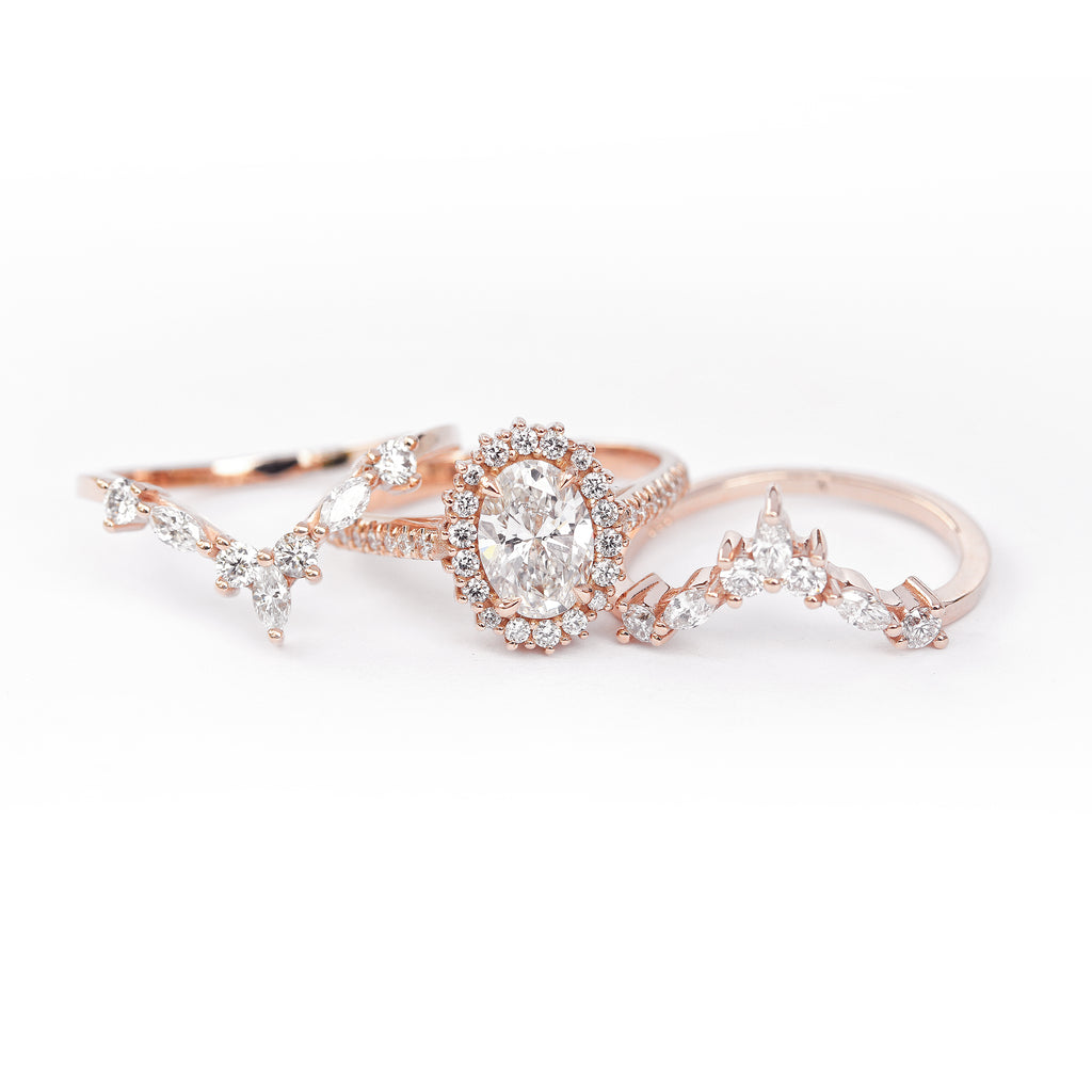 Nia & Two Hermes- Oval Moissanite Halo Unique Engagement & Wedding Three Rings - Set - sillyshinydiamonds