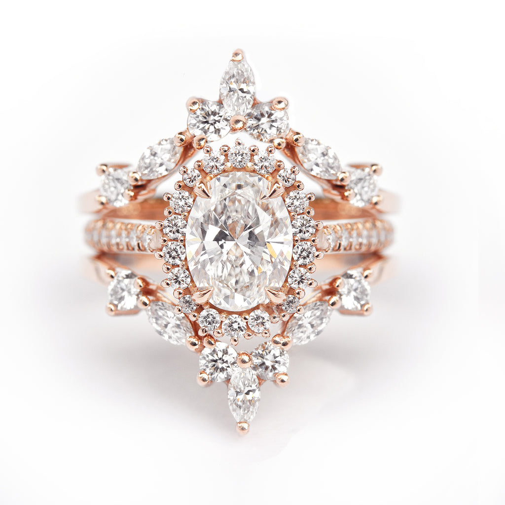 Nia & Two Hermes- 1.70ct Oval Diamond Halo Unique Engagement & Wedding Three Rings - Set