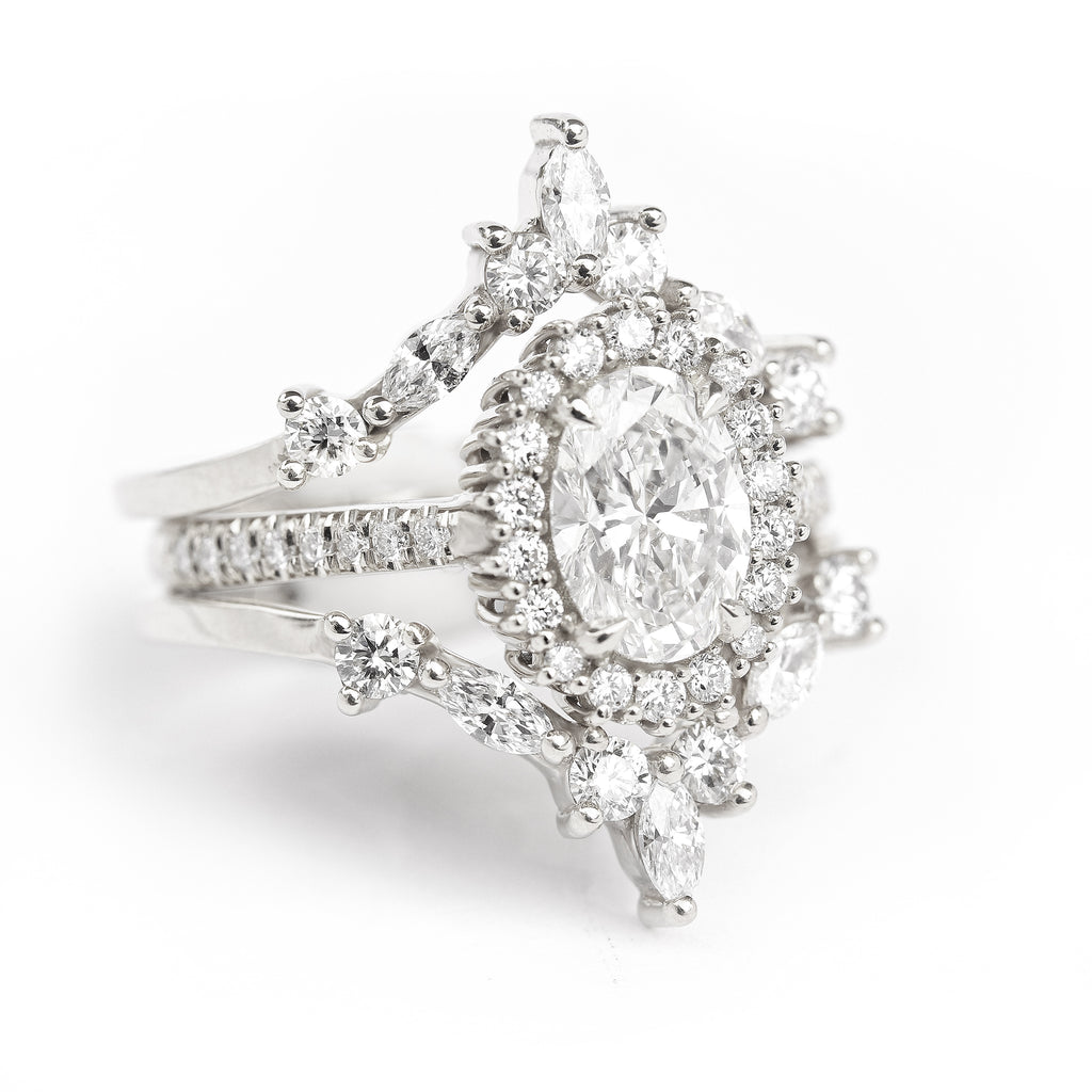Nia & Two Hermes- 1.80ct Oval Diamond Halo Unique Engagement & Wedding Three Rings - Set - sillyshinydiamonds