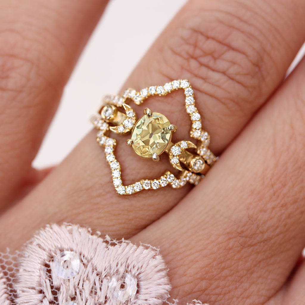 Yellow Oval Diamond Unique, Indie Bride - Unique Engagement Hindi Moon Phase Ring , 14K Yellow Gold, Size 6.5- Ready to ship - sillyshinydiamonds