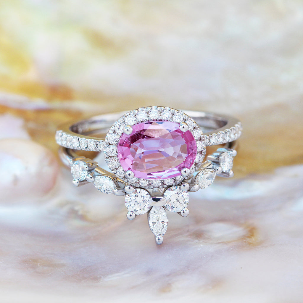 Oval Pink Sapphire & Diamond Halo wedding ring set, Ivy + Iceland