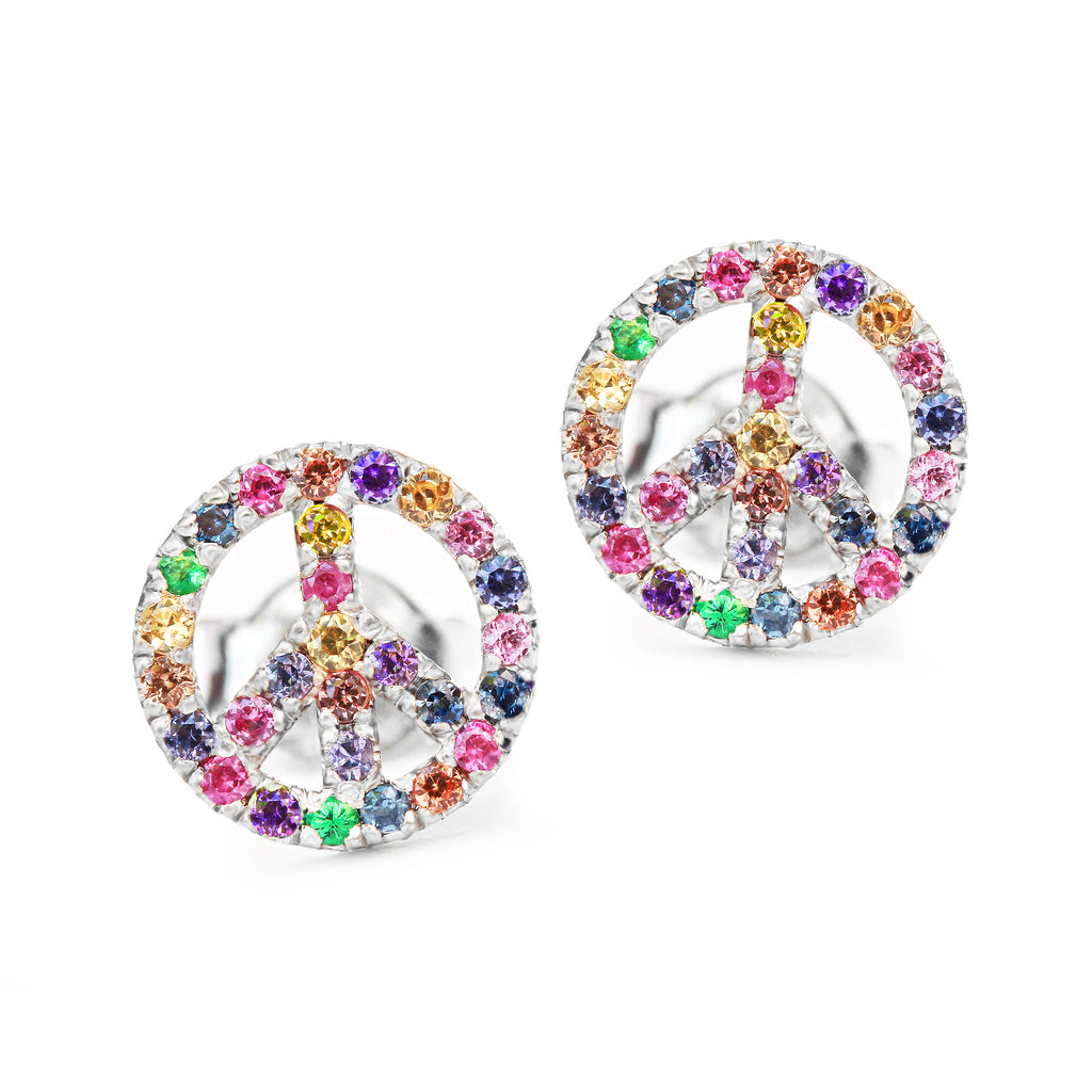 Peace Sign Rainbow Gemstone Unique Stud Earrings