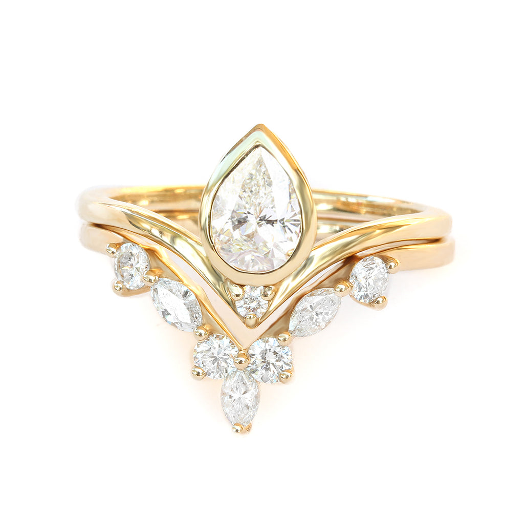 Private Listing for Preston- Pear Bindi & Hermes Ring Set ,  14k yellow gold, size 4.25 - sillyshinydiamonds