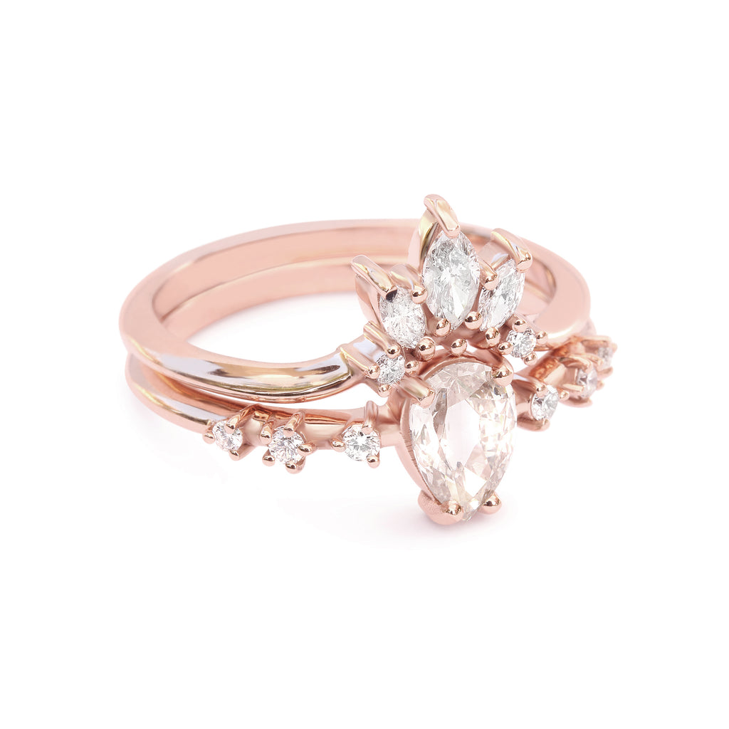 Pear Rose Cut Diamond Wedding Rings Set - sillyshinydiamonds