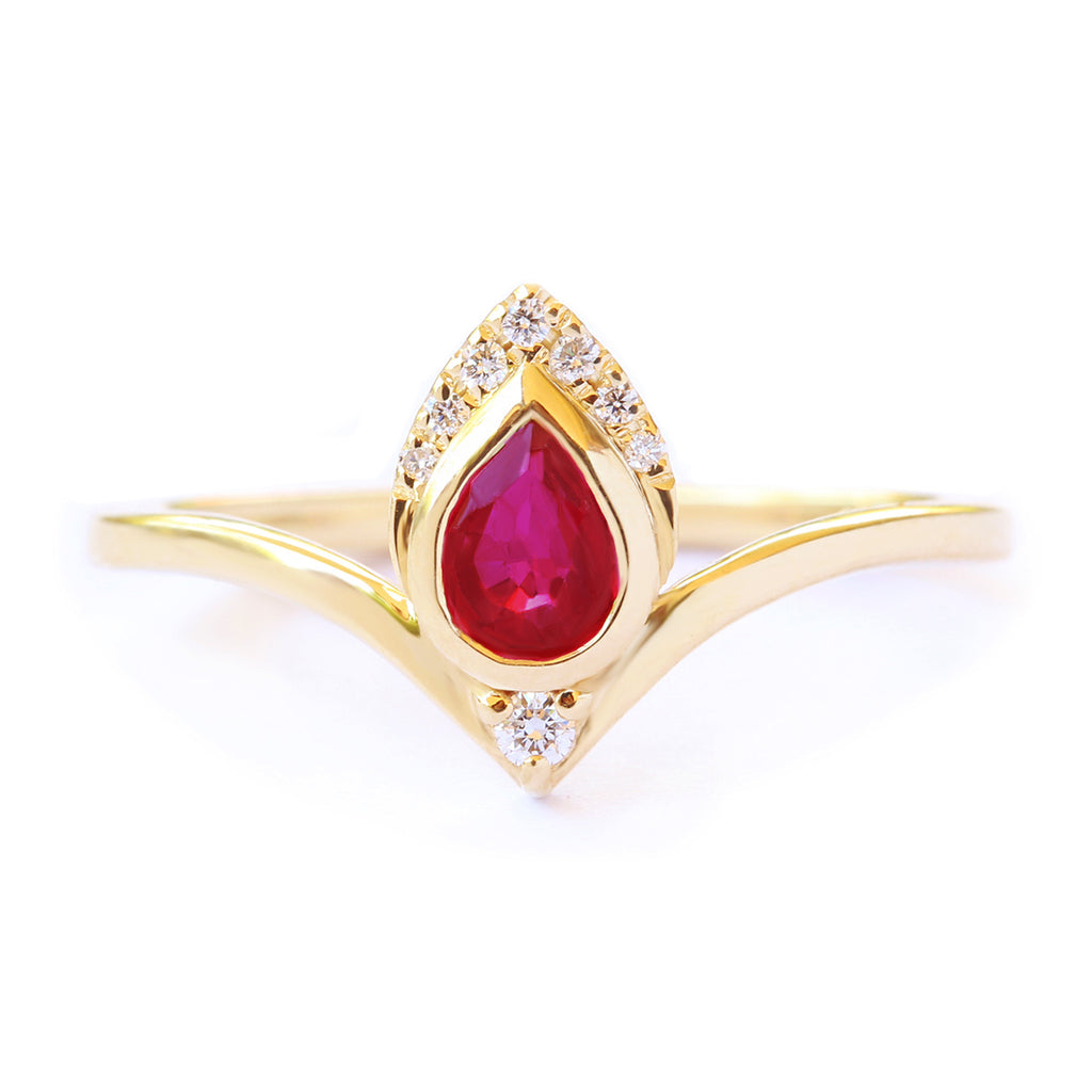 Pear Ruby & Diamonds Ring, 14K Yellow Gold, size 7, Atyasha - sillyshinydiamonds