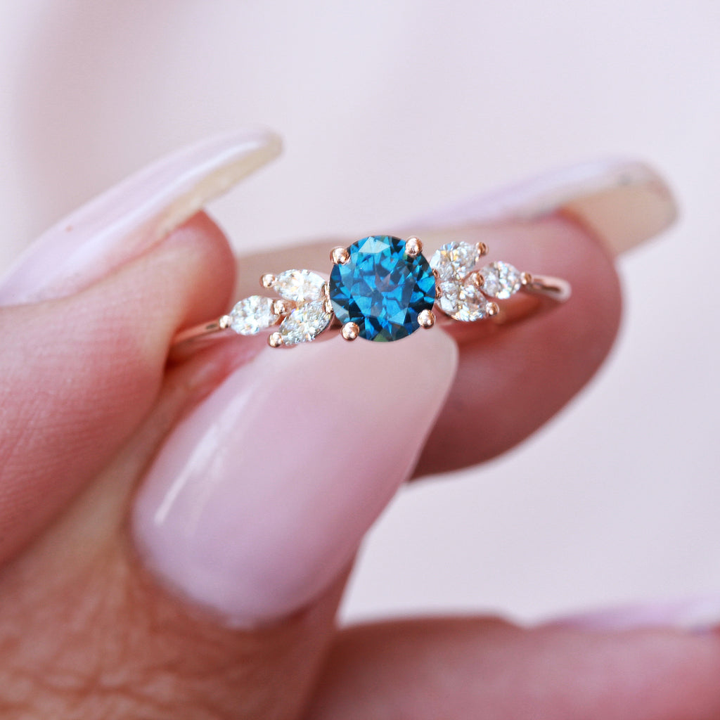 Round blue Sapphire & diamonds engagement ring, Penelope
