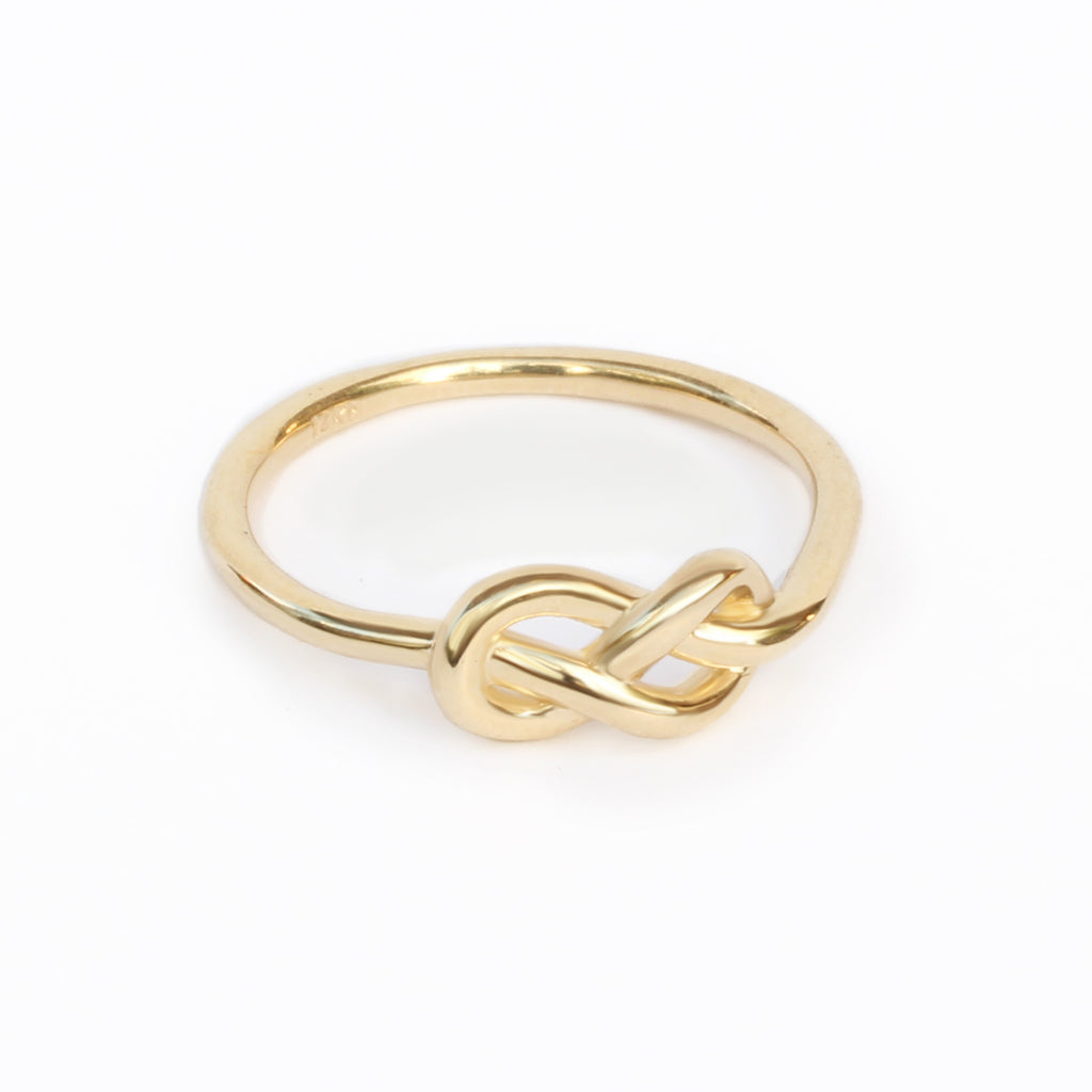 Petite Infinity Knot Gold Ring, delicate unique wedding bands Wedding Band